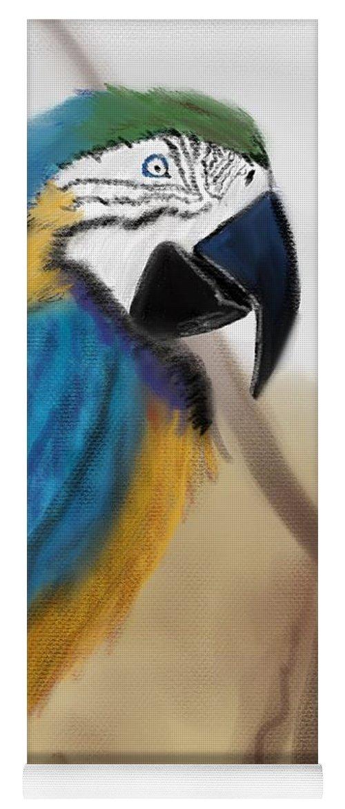Parrot Yoga Mat featuring the digital art Blue Parrot by Fe Jones