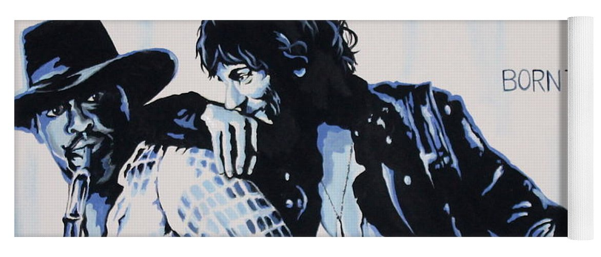 Bruce Springsteen Yoga Mat featuring the painting Born to Run Bruce Springsteen by Amy Belonio