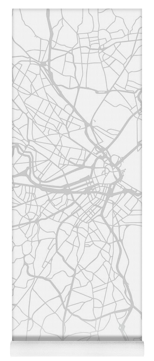 Boston Yoga Mat featuring the mixed media Boston Massachusetts City Street Map Black And White Minimalist Series by Design Turnpike