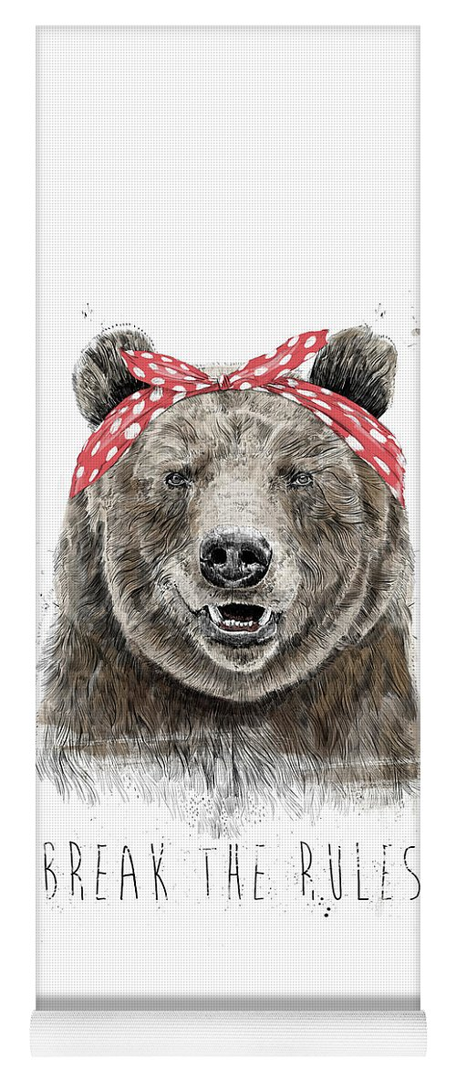 Bear Yoga Mat featuring the mixed media Break The Rules by Balazs Solti