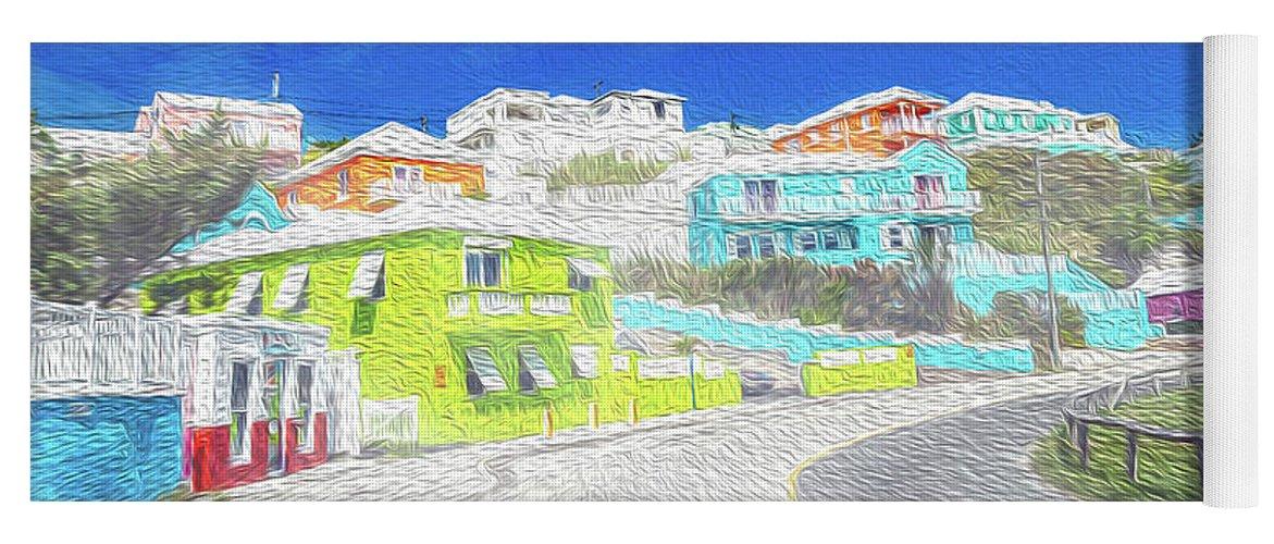 Bermuda Yoga Mat featuring the digital art Bright Parish Life Bermuda by Betsy Knapp