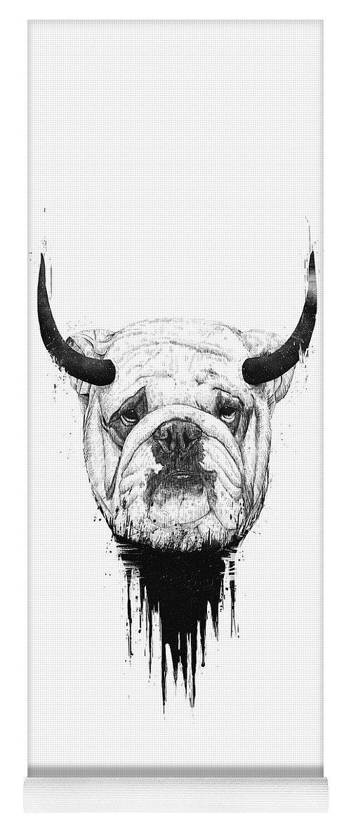 Bulldog Yoga Mat featuring the drawing Bull dog by Balazs Solti