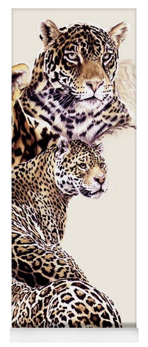 Jaguar Yoga Mat featuring the drawing Burn by Barbara Keith