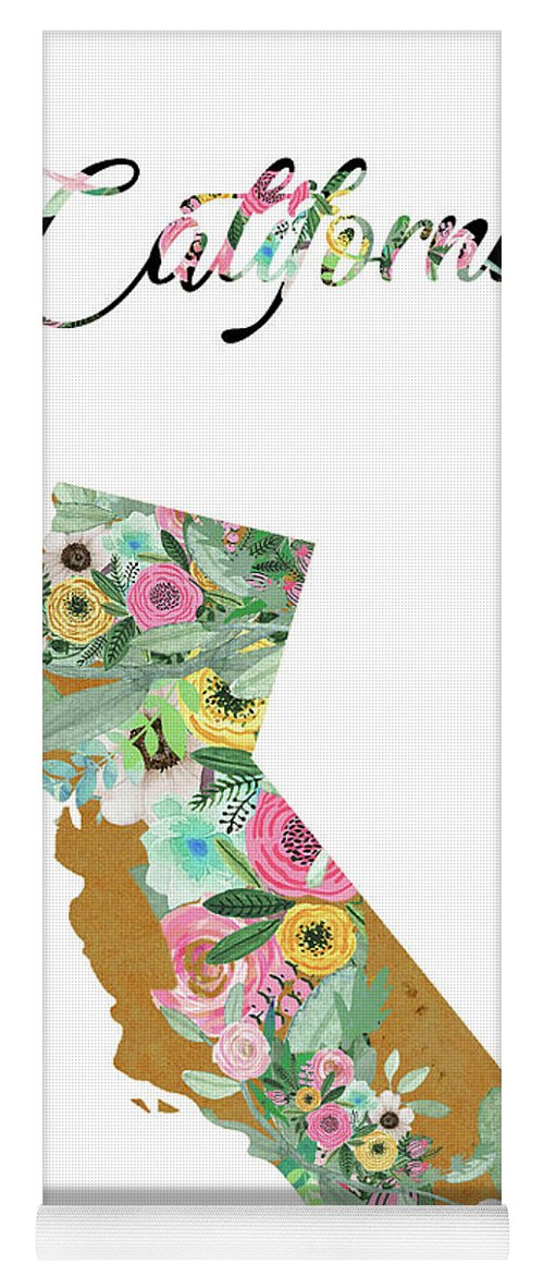 California Collage Yoga Mat featuring the mixed media California by Claudia Schoen