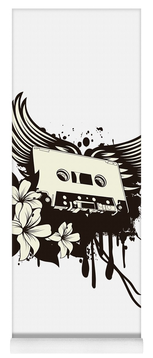Gothic Yoga Mat featuring the digital art Cassette Tape With Wings by Passion Loft