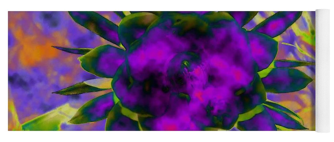 Floral Yoga Mat featuring the digital art Cereusly Solarized by Vallee Johnson