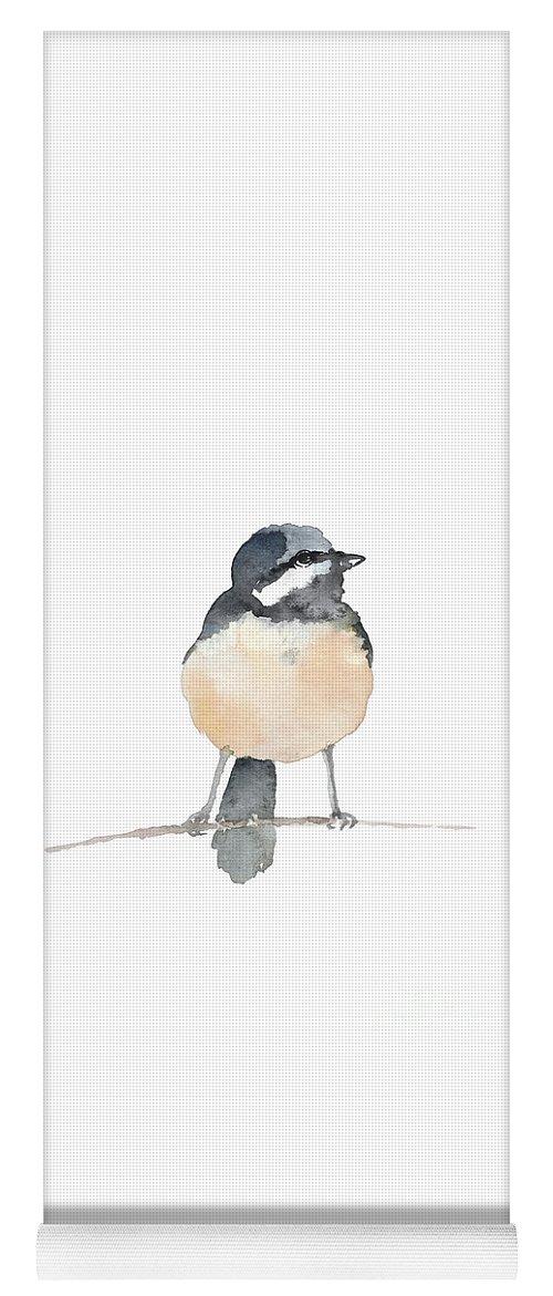 Chickadee Yoga Mat featuring the painting Chickadee Bird Watercolor Painting Colorful Wildlife Animal by Joanna Szmerdt