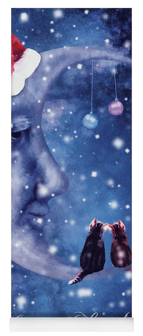Christmas Yoga Mat featuring the digital art Christmas Card With Smiling Moon And Cats by Mihaela Pater