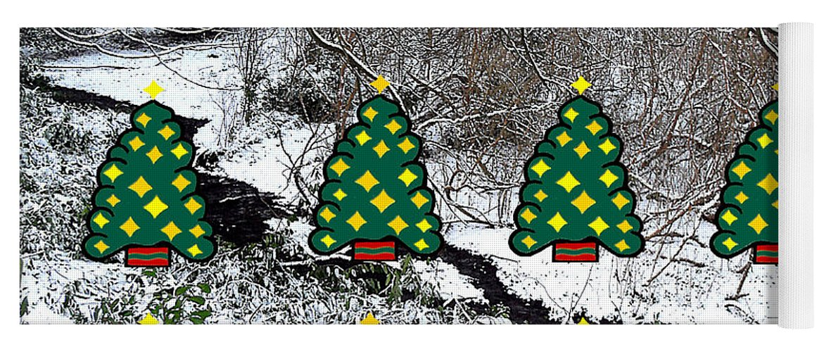 Christmas Yoga Mat featuring the mixed media Christmas Trees by Patrick J Murphy