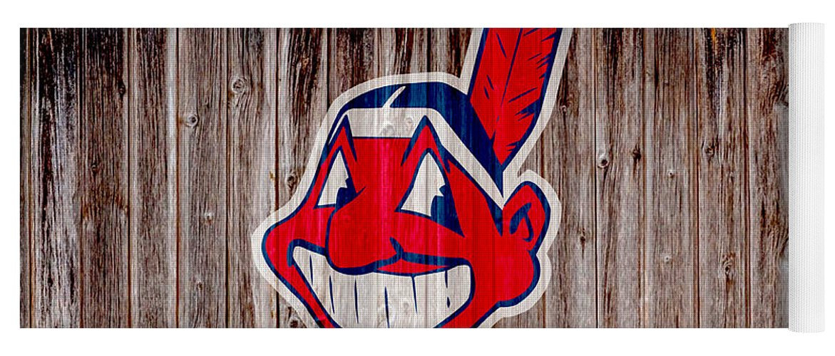 Clevland Yoga Mat featuring the digital art Cleveland Indians by Steven Parker