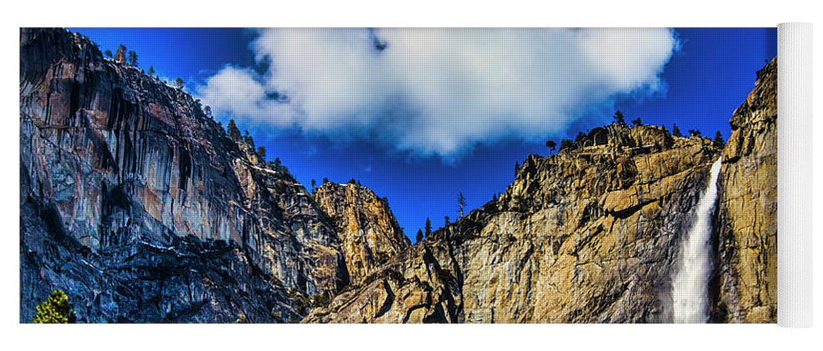 Upper Yoga Mat featuring the photograph Clouds Abover Upper Yosemite Fall by Garry Gay
