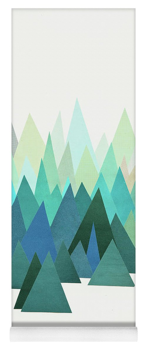 Mountains Yoga Mat featuring the mixed media Cold Mountain by Cassia Beck