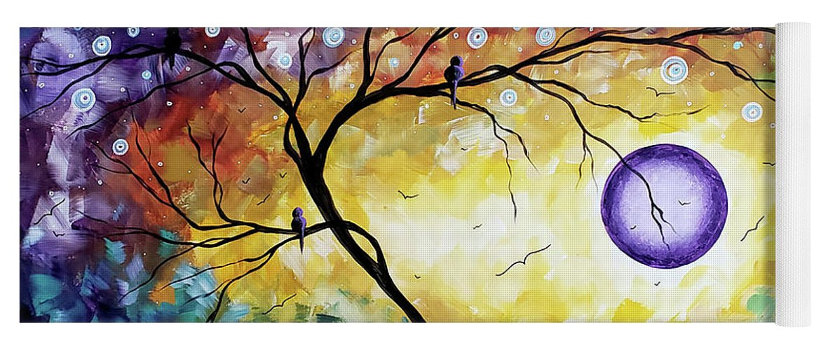 Abstract Yoga Mat featuring the painting Colorful Whimsical Original Landscape Tree Painting Purple Reign By Megan Duncanson by Megan Duncanson