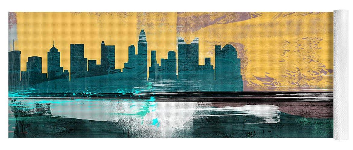 Columbus Yoga Mat featuring the mixed media Columbus Abstract Skyline I by Naxart Studio