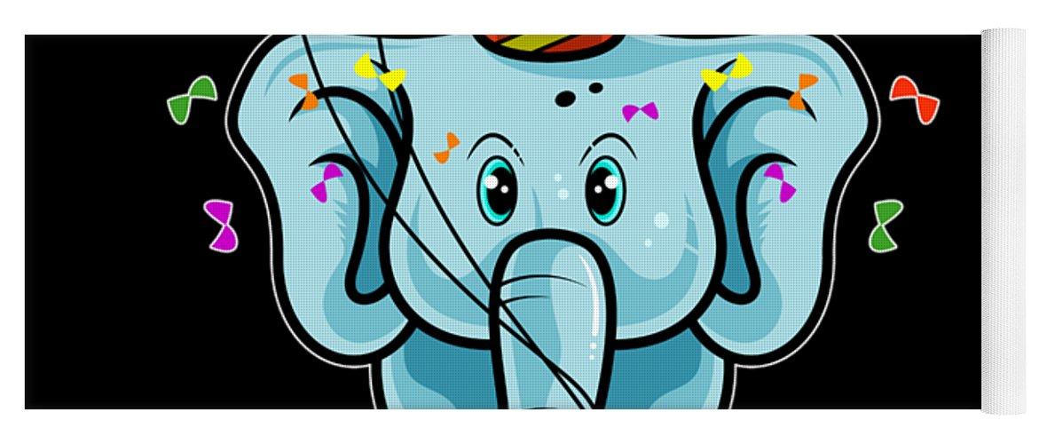 Ninth-birthday Yoga Mat featuring the digital art Cute 9th Ninth Birthday Elephant by Beth Scannell