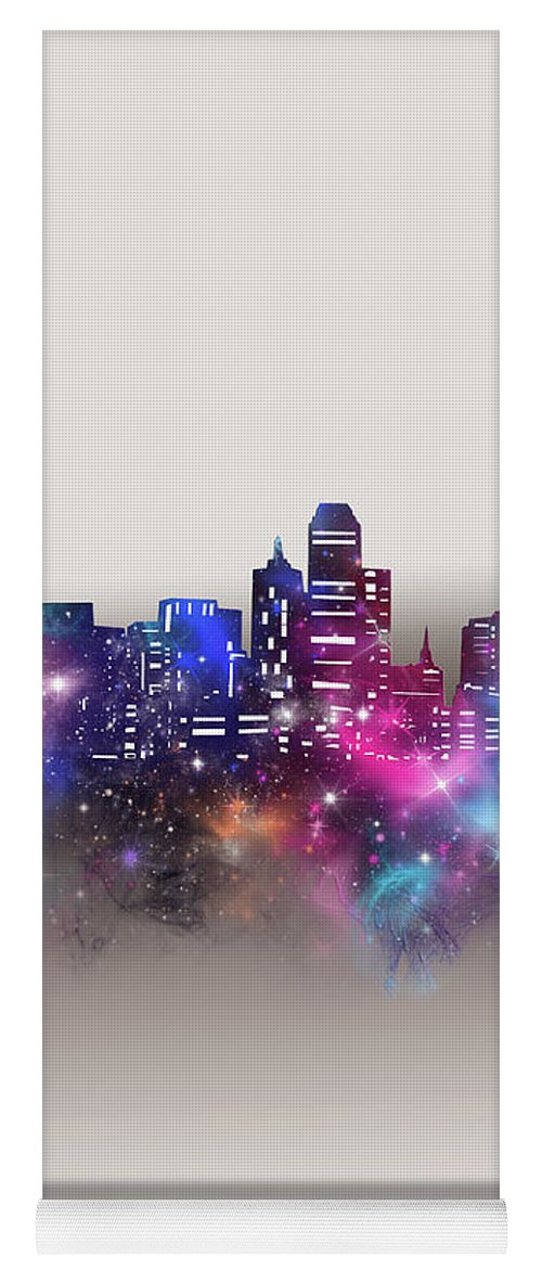 Dallas Yoga Mat featuring the digital art Dallas Skyline Galaxy by Bekim M