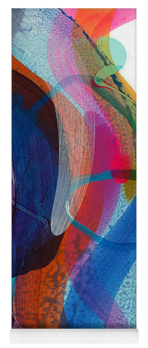 Abstract Yoga Mat featuring the painting Dancing In The Kitchen by Claire Desjardins