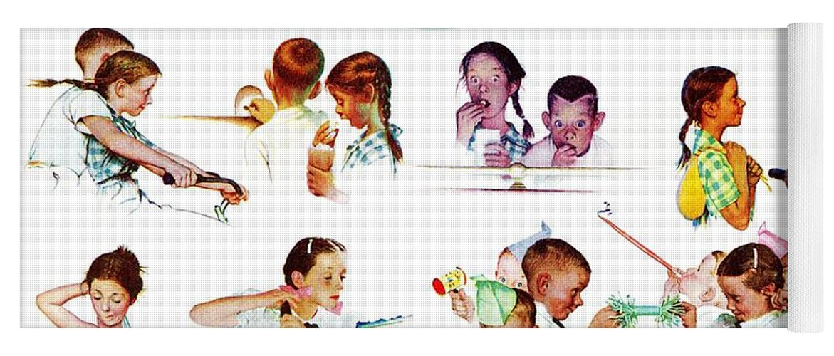Birthdays Yoga Mat featuring the drawing Day In The Life Of A Girl by Norman Rockwell