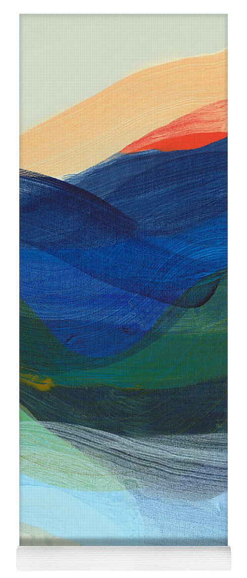 Abstract Yoga Mat featuring the painting Deep Sleep Undone by Claire Desjardins