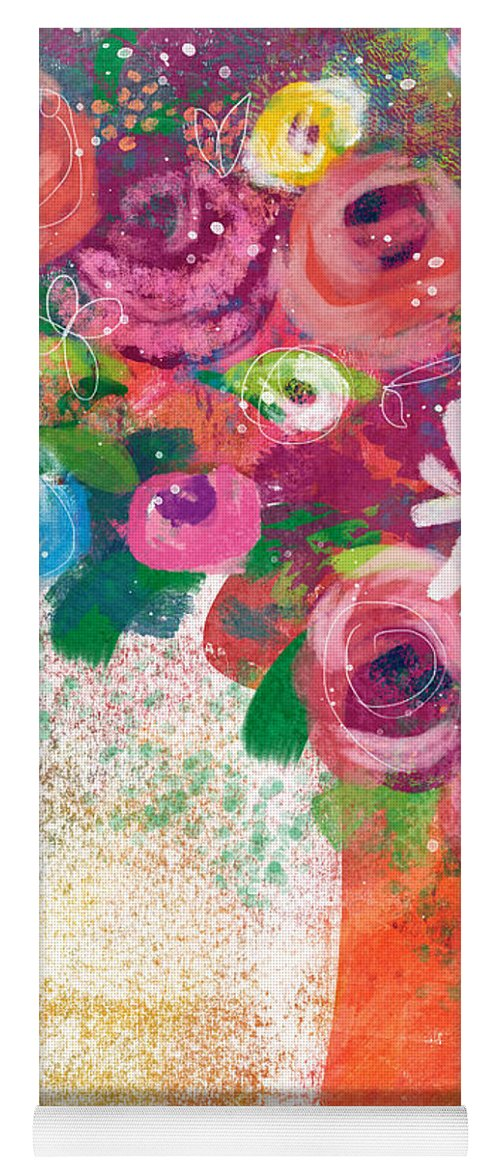 Floral Yoga Mat featuring the mixed media Delightful Bouquet 2- Art By Linda Woods by Linda Woods