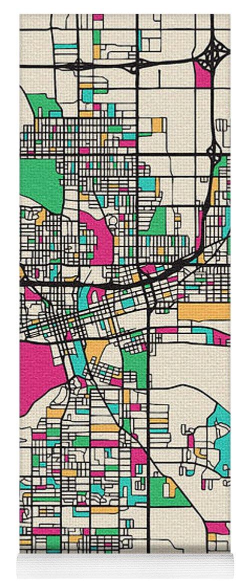 Des Moines, Iowa City Map Yoga Mat