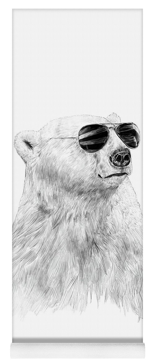 Polar Bear Yoga Mat featuring the drawing Don't let the sun go down by Balazs Solti