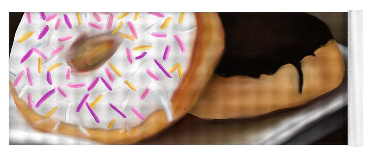 Doughnuts Yoga Mat featuring the painting Doughnut Life by Fe Jones