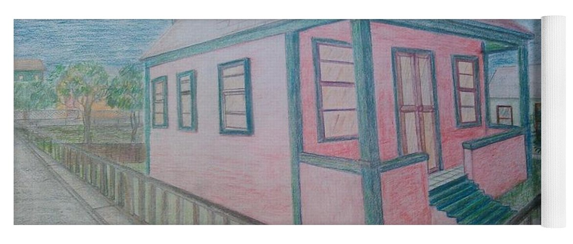Drawing By Andrew Johnson Yoga Mat featuring the drawing Dream Cottage by Andrew Johnson