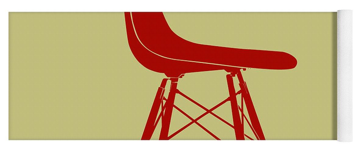 Mid-century Yoga Mat featuring the digital art Eames Plastic Side Chair II by Naxart Studio