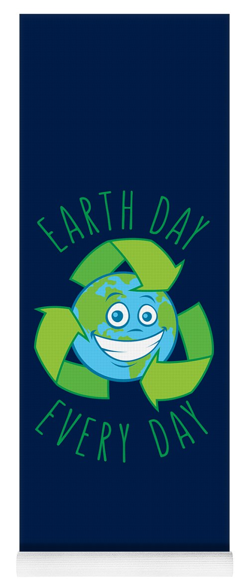 Green Yoga Mat featuring the digital art Earth Day Every Day Recycle Cartoon by John Schwegel