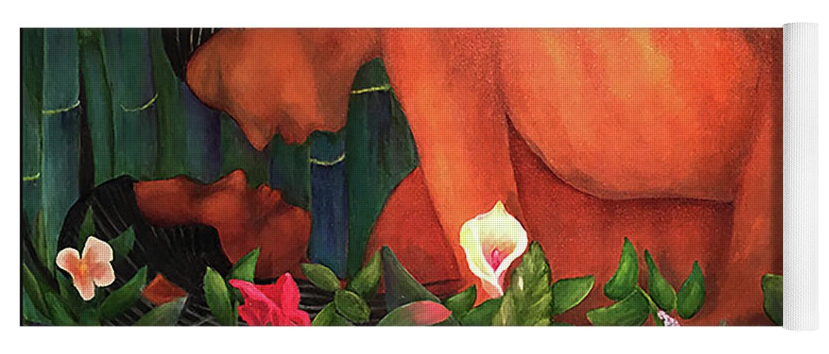 Lovers Yoga Mat featuring the painting Elves In Love by Larry Rice