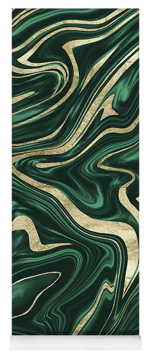 Emerald Green Black Gold Marble 1 Decor Art Yoga Mat For Sale By Anitas And Bellas Art