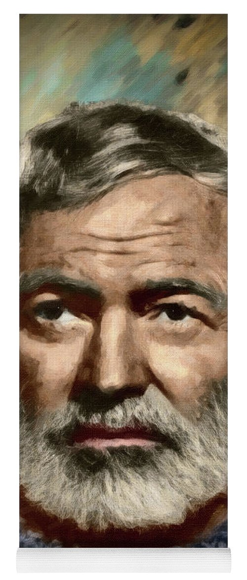 Portrait Yoga Mat featuring the painting Ernest Hemingway - Dwp1200534 by Dean Wittle