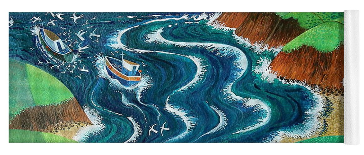 Blue Yoga Mat featuring the painting Evening Sea Breezes by Lisa Graa Jensen