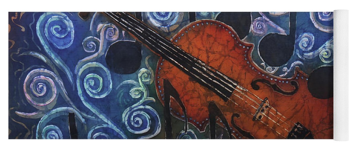 Fiddle Yoga Mat featuring the painting Fiddle 1 by Sue Duda