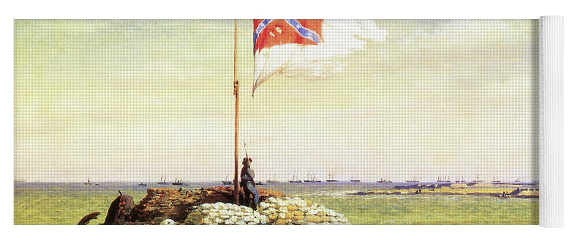 1863 Yoga Mat featuring the painting Flag Of Fort Sumter by Conrad Wise Chapman
