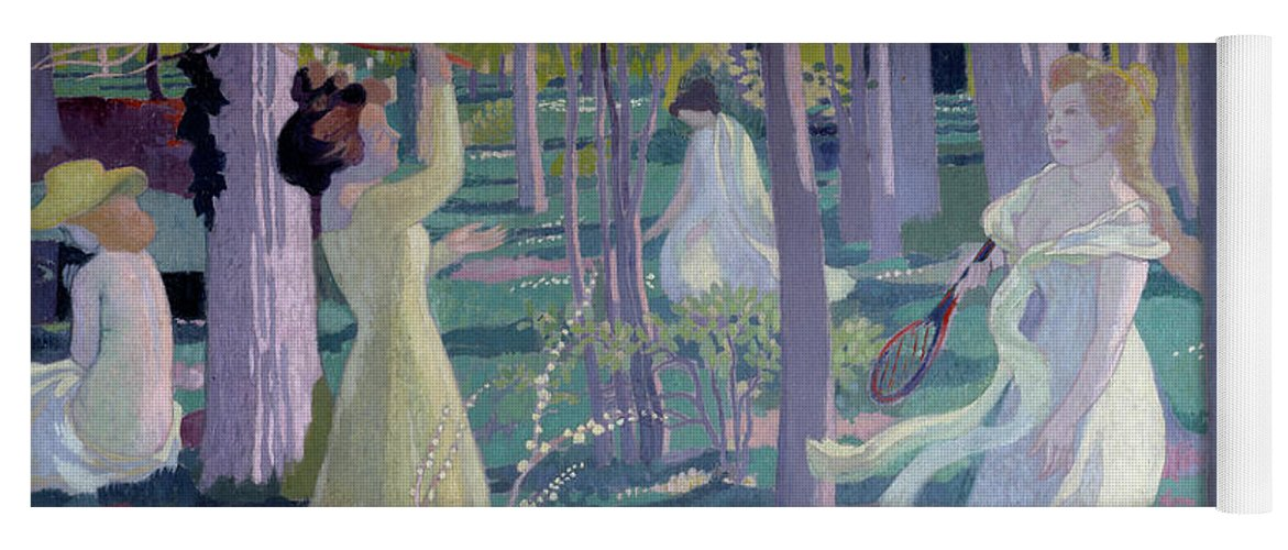 Girl Yoga Mat featuring the painting Flying Game, Detail, Two Women In A Garden Play A Game by Maurice Denis