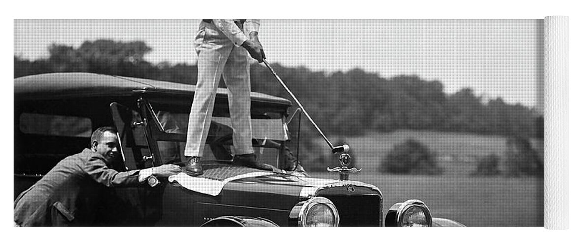 Vintage Golf Yoga Mat featuring the photograph Fore by Jon Neidert