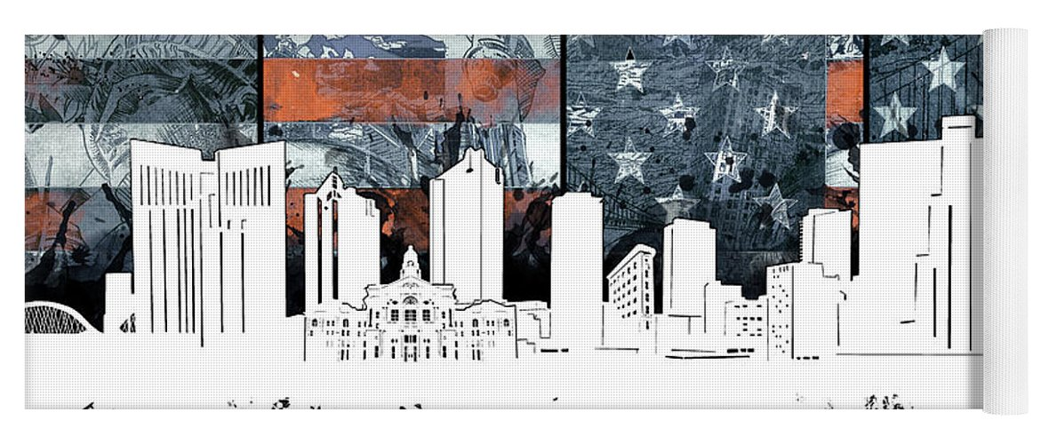 Fort Worth Yoga Mat featuring the digital art Fort Worth Skyline Usa Flag 2 by Bekim Art