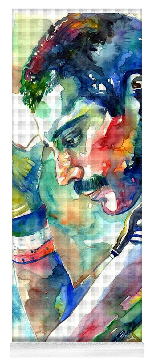 Freddie Mercury Yoga Mat featuring the painting Freddie Mercury With Cigarette by Suzann Sines