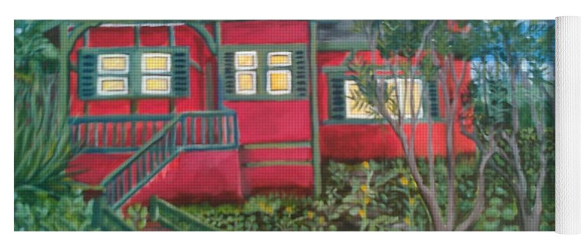 Painting Of House Yoga Mat featuring the painting Fresh yard by Andrew Johnson