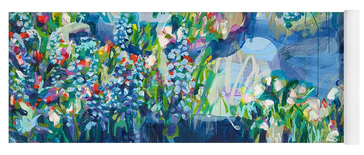 Abstract Yoga Mat featuring the painting Full Bloom by Claire Desjardins