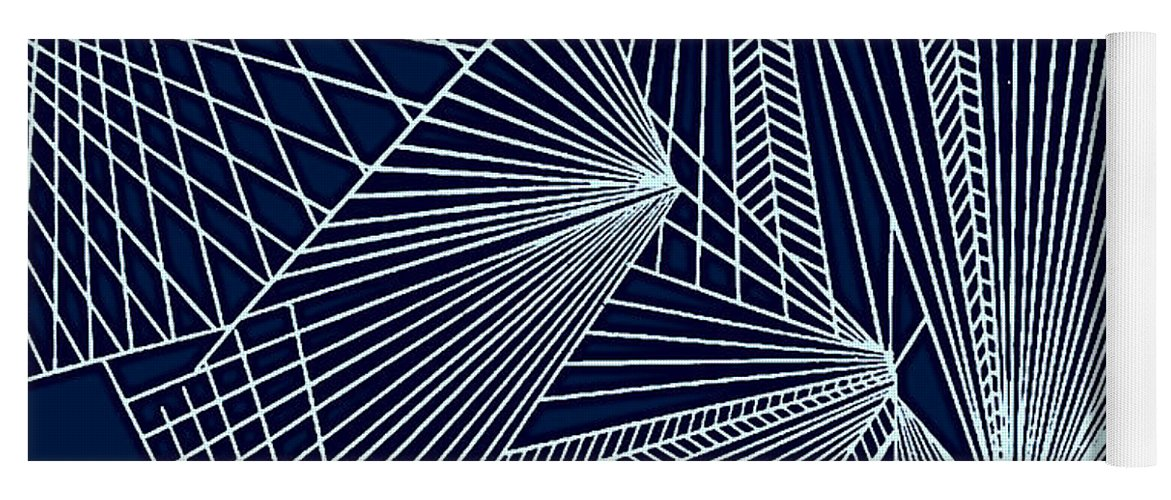 Geometric Patterns Yoga Mat featuring the painting Geometric Pattern 1-colour-2 by Katerina Stamatelos