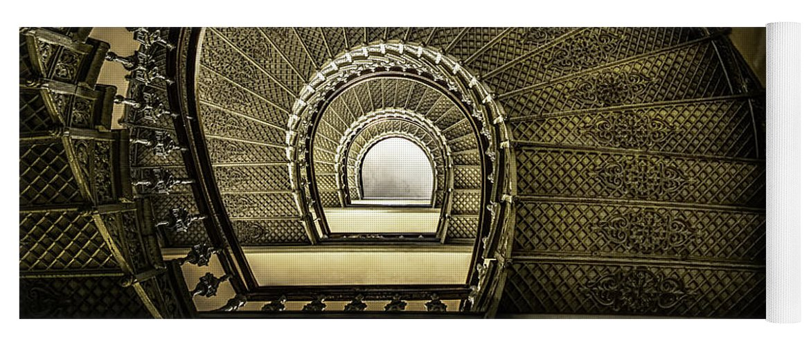 Architecture Yoga Mat featuring the photograph Golden Stairway by Jaroslaw Blaminsky