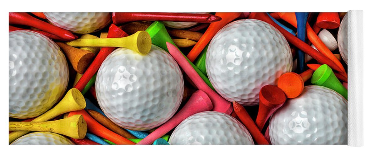 Golf Ball Yoga Mat featuring the photograph Golf Balls And Colorful Tees by Garry Gay