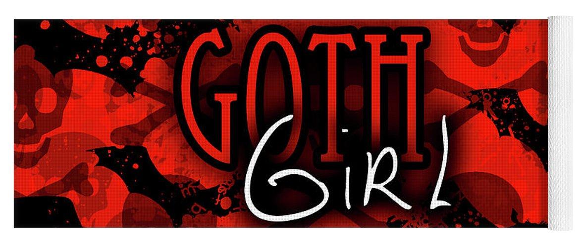 Goth Yoga Mat featuring the digital art Goth Girl Graphic by Roseanne Jones
