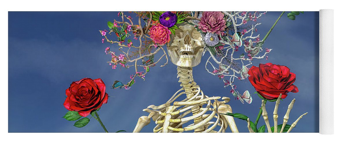 Skeleton Yoga Mat featuring the digital art Grateful Greetings And Good Times by Betsy Knapp