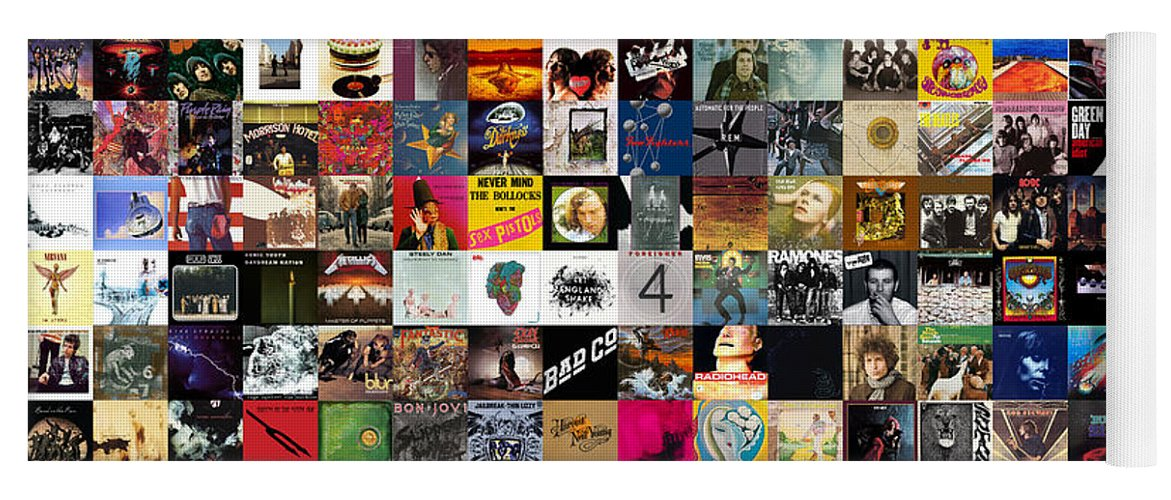 Album Covers Yoga Mat featuring the digital art Greatest Rock Albums of All Time by Zapista OU