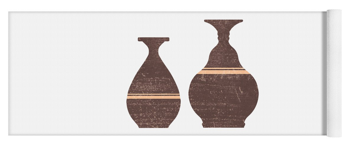 Abstract Yoga Mat featuring the mixed media Greek Pottery 26 - Alabastron - Terracotta Series - Modern, Contemporary, Minimal Abstract - Brown by Studio Grafiikka