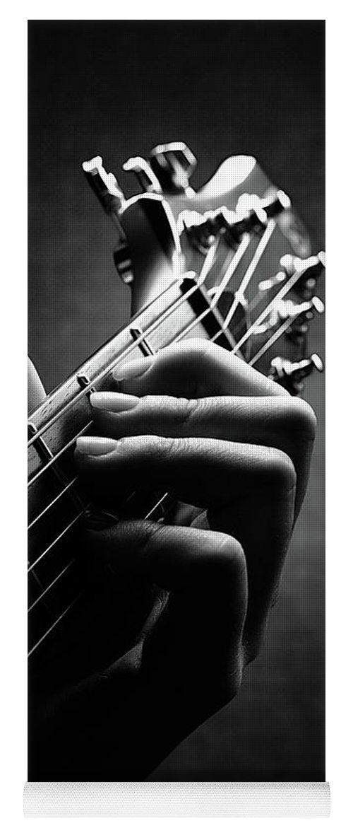 Guitar Yoga Mat featuring the photograph Guitarist Hand Close-up by Johan Swanepoel